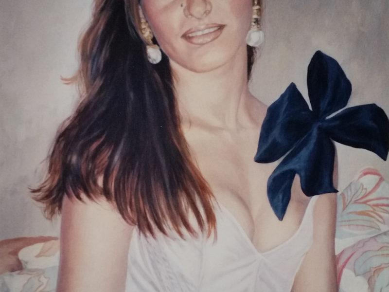 ritratto, acrilico su tela, ritratto di giovane donna