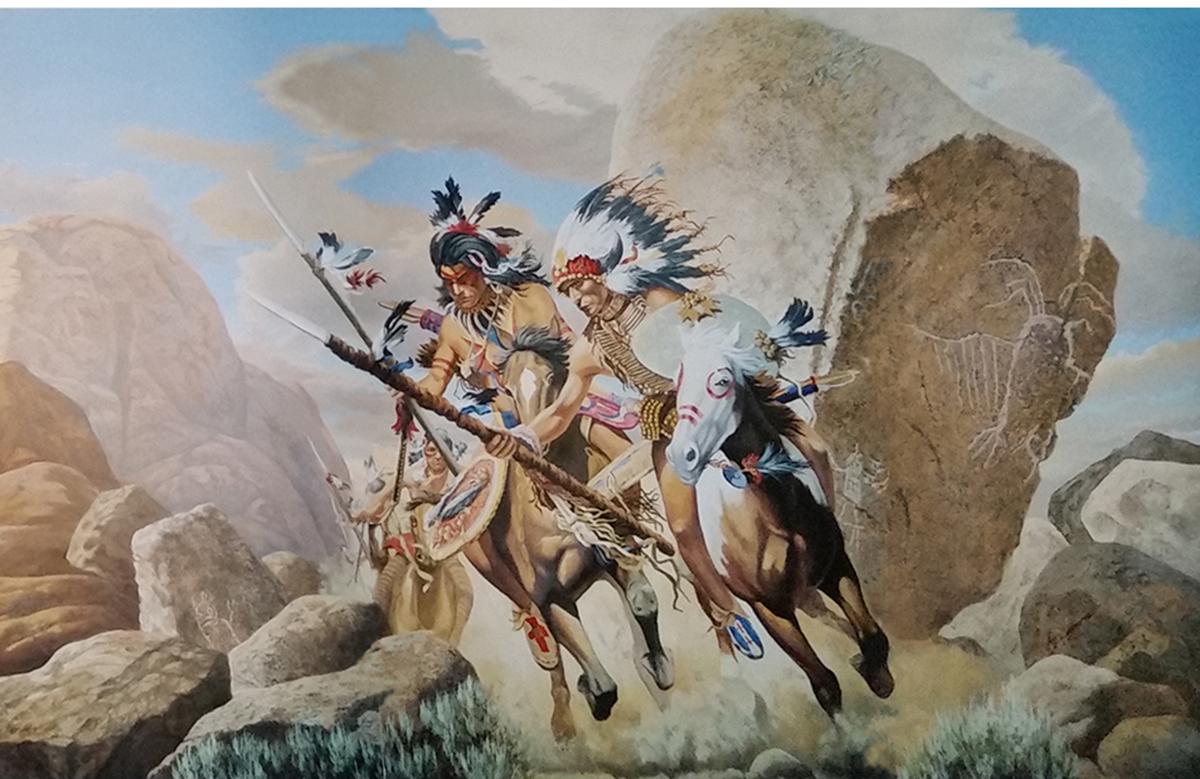 """acrilico su tela, decorazione per ristoranti, pareti decorate, ristorante decorato, tela dipinta incollata su parete, tela incollata su parete, trompe l'oeil, trompe l'oeil """" indiani d'America McDonald's, trompe l'oeil con cavalieri indiani e soldati americani e paesaggio"""