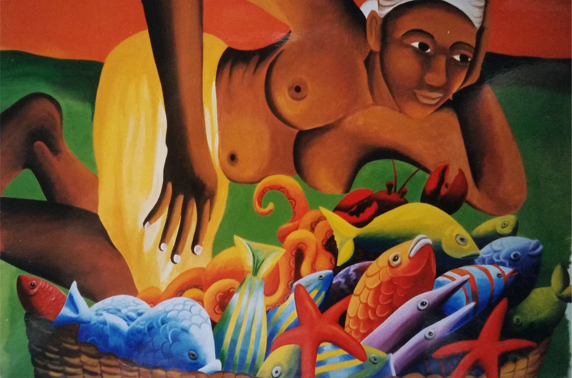 Ristorante Anguilla Caraibi Tecnica mista. Colorazione ad acrilico su tela. Mq 20