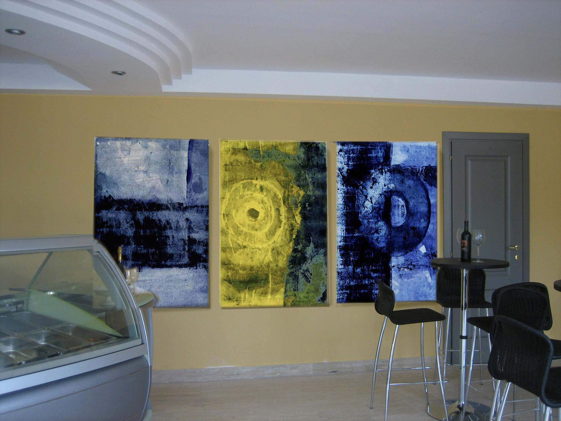 Triitico Blue and Yellow 2012 Bar delle Piscine Foro Italico Roma Tecnica mista. Colorazione con pigmenti. Cm 80x140 cad