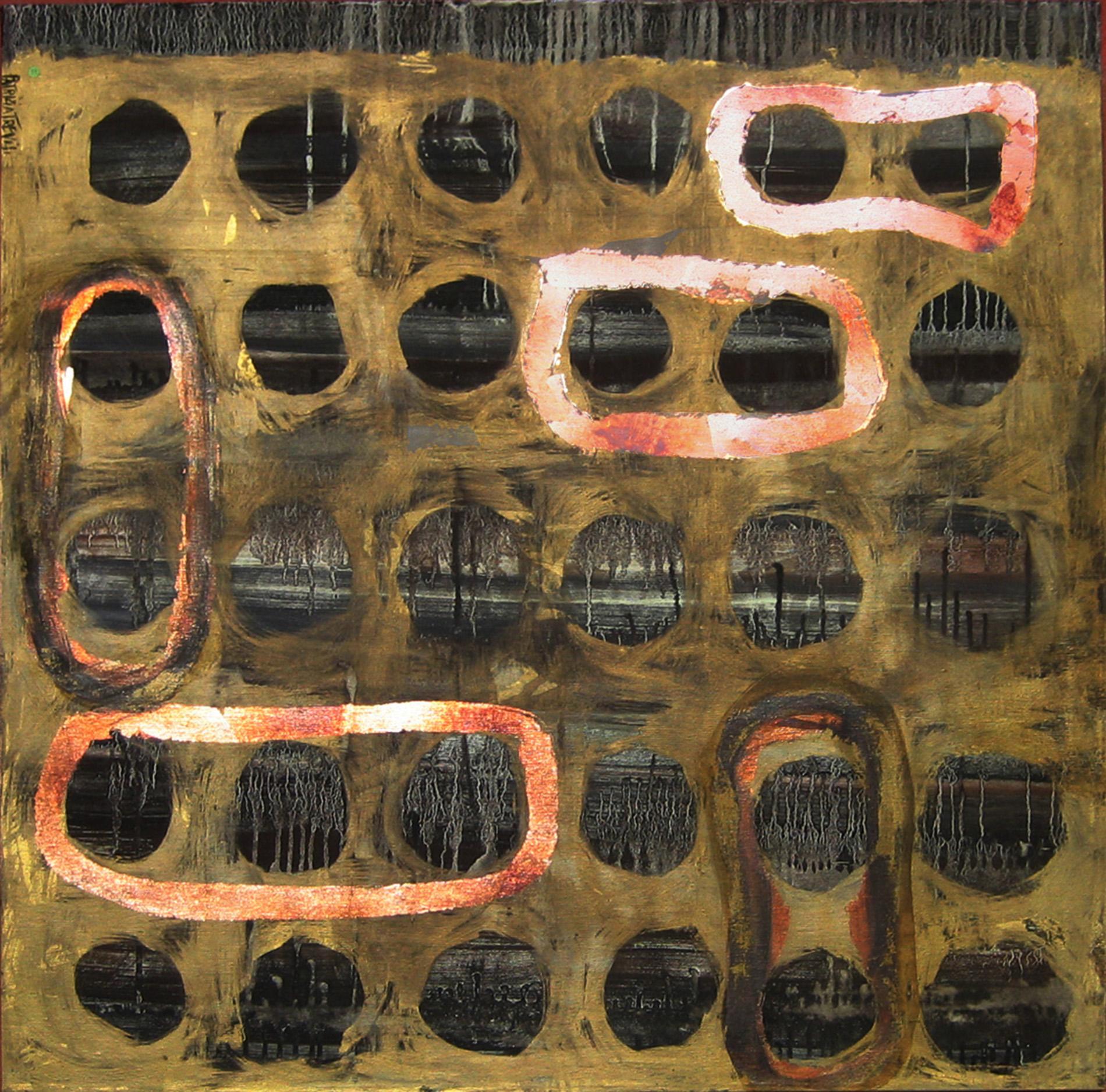 """Quadri """"Gold holes"""" 2013 Showroom Roma Tecnica mista. Colorazione con pigmenti. Foglia d'oro e foglia di rame."""