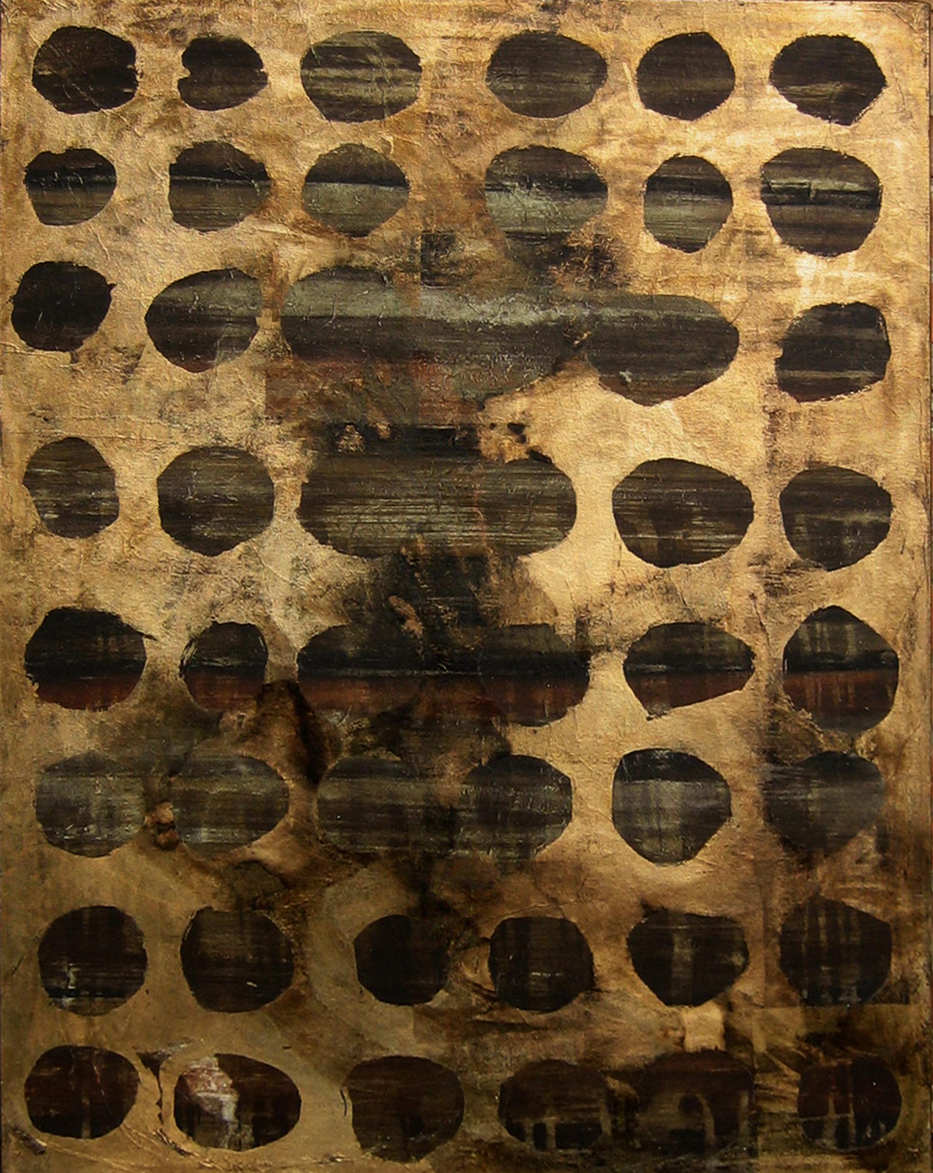"""Quadri """"Gold holes"""" 2013 Showroom Roma Tecnica mista. Colorazione con pigmenti. Foglia d'oro e foglia di rame. Cm80x100"""