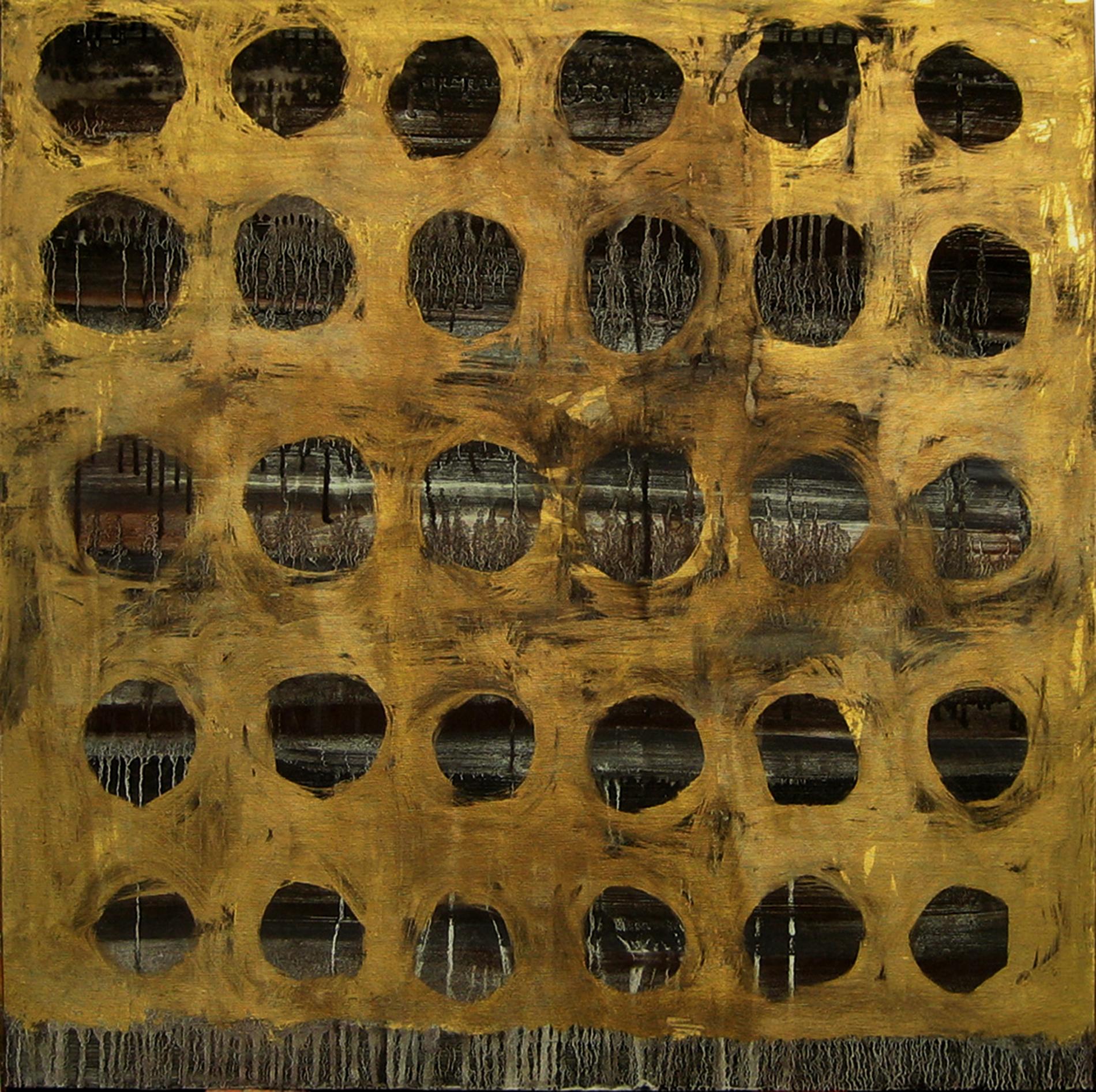 """Quadri """"Gold holes"""" 2013 Showroom Roma Tecnica mista. Colorazione con pigmenti. Foglia d'oro e foglia di rame. Cm 100x100"""