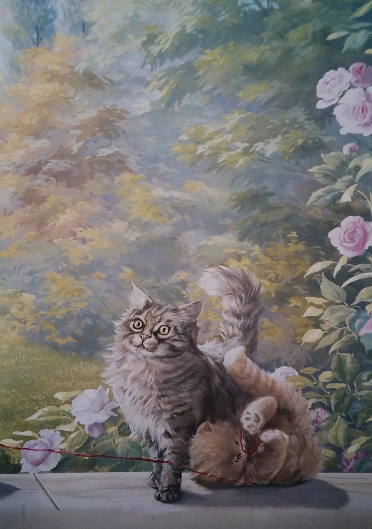 Veduta con gatti Residenza privata Roma Tecnica mista. Colorazione ad acrilico su tela. Cm 220x 160