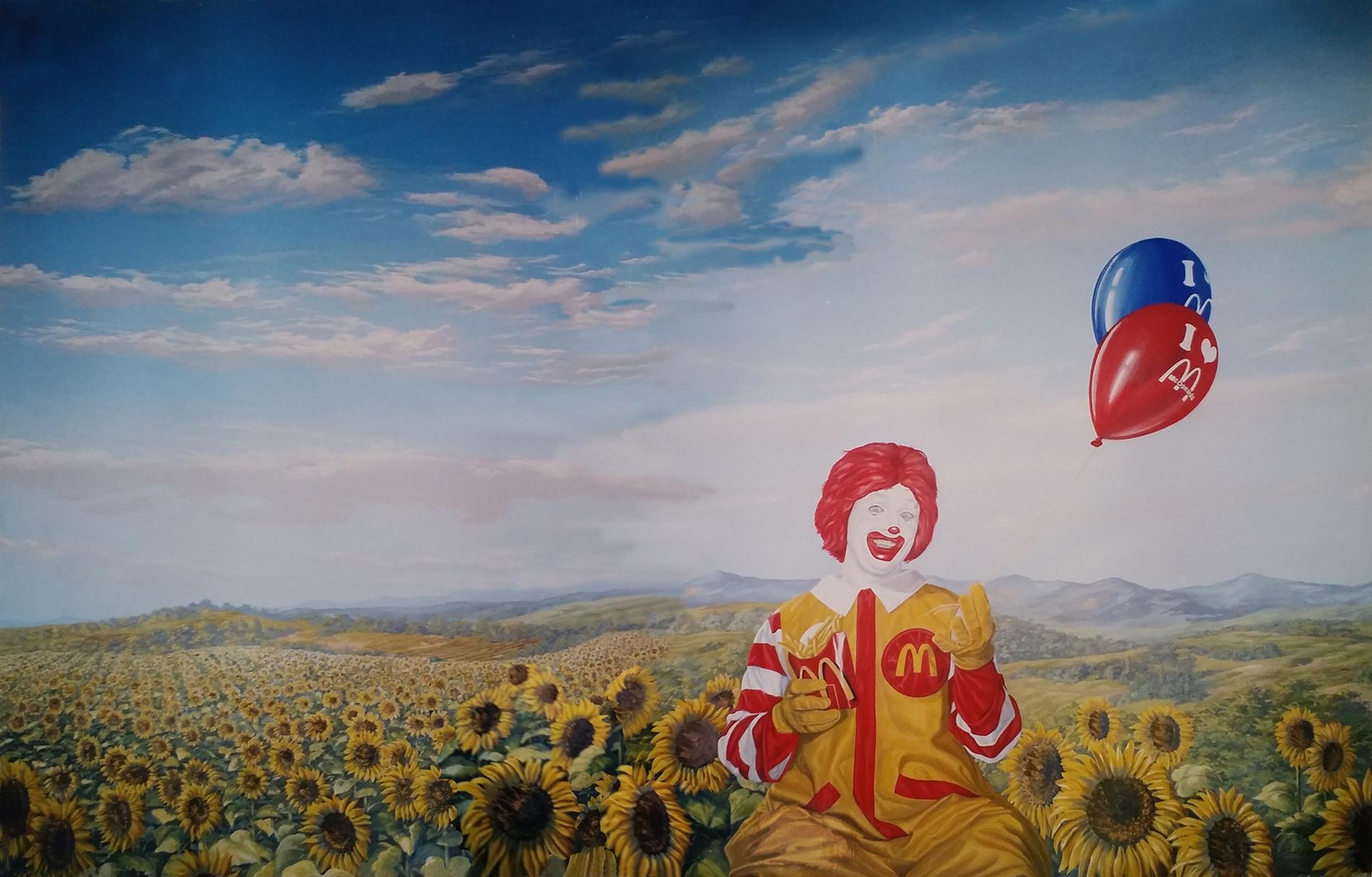 """""""Il pagliaccio Ronald's"""" Mc Donald's Roma, tecnica mista, acrilico su tela, acrilico su tela poi incollata su parete, decorazione per fast food, decorazione realizzata ad aereografo e dipinta a pennello, decorazione per pub, decorazione per fast food, decorazione per ristoranti, decorazione per discoteche"""
