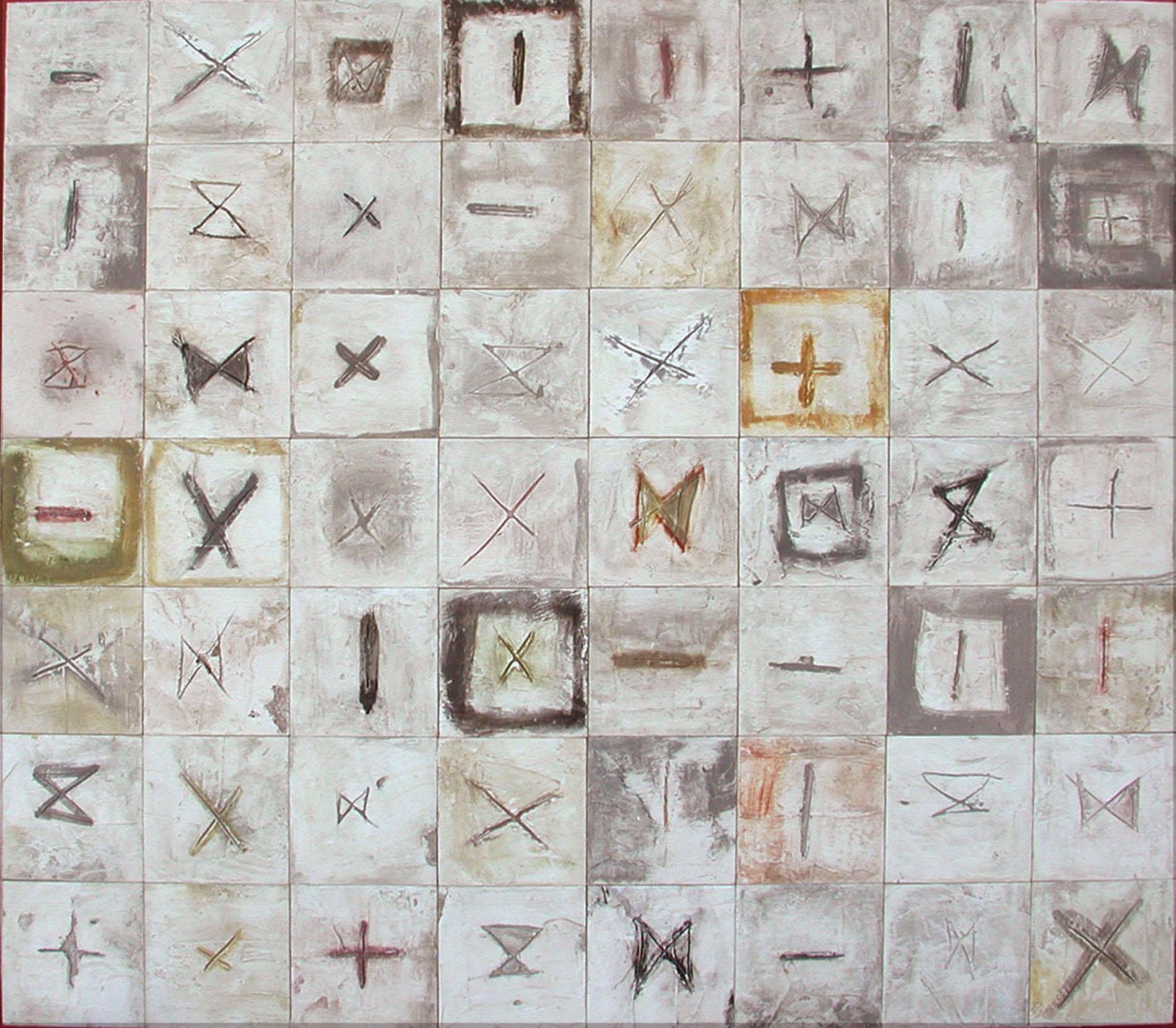 Moduli Rune Collezione privata Roma 2012 Gesso modellato su multistrato. Colorazione con pigmenti Cm 140x 120