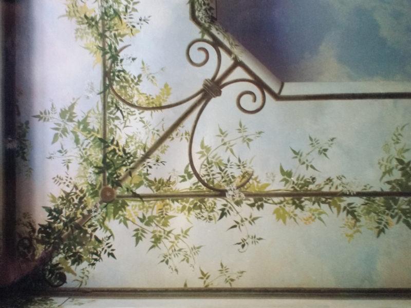 tecnica mista, Acrilico su tela, boiserie in finto legno dipinto a olio su MDF, decorazione con grillage , decorazione per residenze private, decorazione per albergo, decorazione per ristoranti, trompe l'oeil con gazebo e gelsomini, trompe gazebo, trompe l'oeil con gelsomini, trompe l'oeil su parete, trompe l'oeil su tela incollata al muro, boiserie in finto legno dipinto a olio, Boiserie in finto legno dipinto ad acrilico
