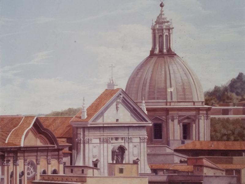 Veduta di Roma Collezione privata Roma Tecnica mista. Arilico su tela. Cm 280x 140