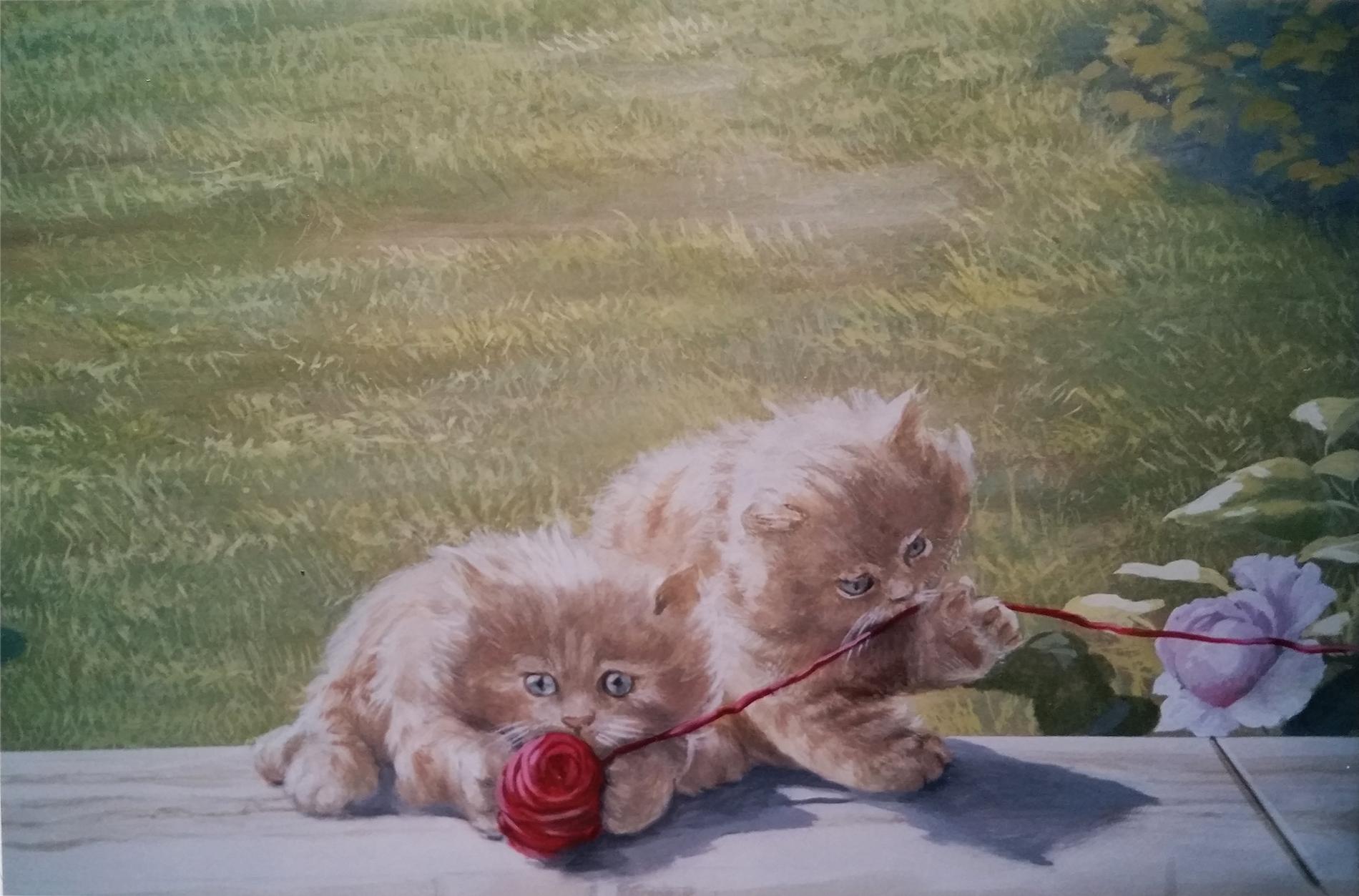 trompe l'oeil per la stanza di un bambino, trompe l'oeil per showroom, trompe l'oeil sala cerimonie, acrilico su tela, decorazione con tende di seta giardino e rose, decorazione per alberghi, decorazione per ristoranti, trompe l'oeil con giardino fiorito e gatti, trompe l'oeil con giardino e gatti, trompe l'oeil con veduta romantica, trompe l'oeil decorato con gatti, trompe l'oeil per showroom, trompe l'oeil su parete, trompe l'oeil su tela incollata al muro, trompe l'oeil con giardino, veduta con giardino gatti e rose