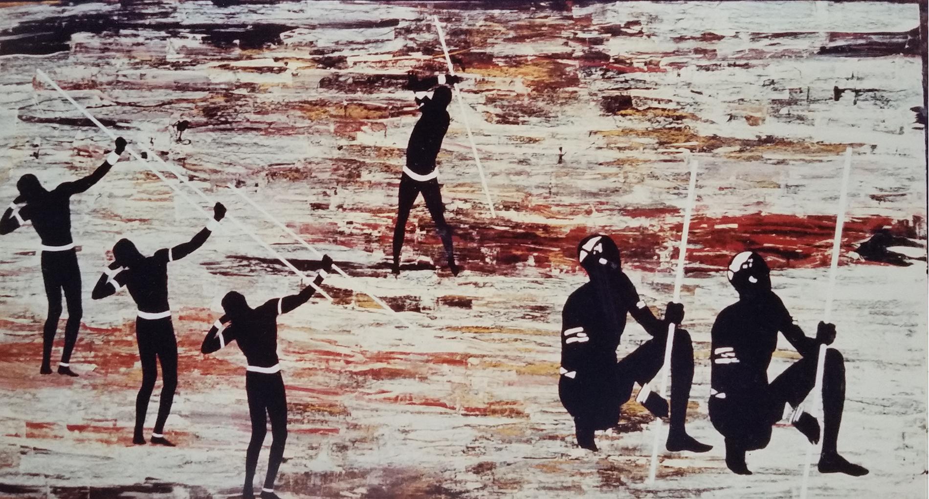 Villaggio Turistico Costa d'Avorio Tecnica mista. Colorazione ad acrilico su tela. Mq 200
