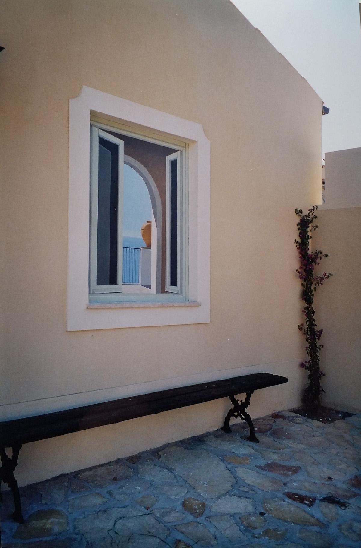 Esterno Hall Cefalù Sicilia Tecnica mista. Colorazione ad acrilico su tela.