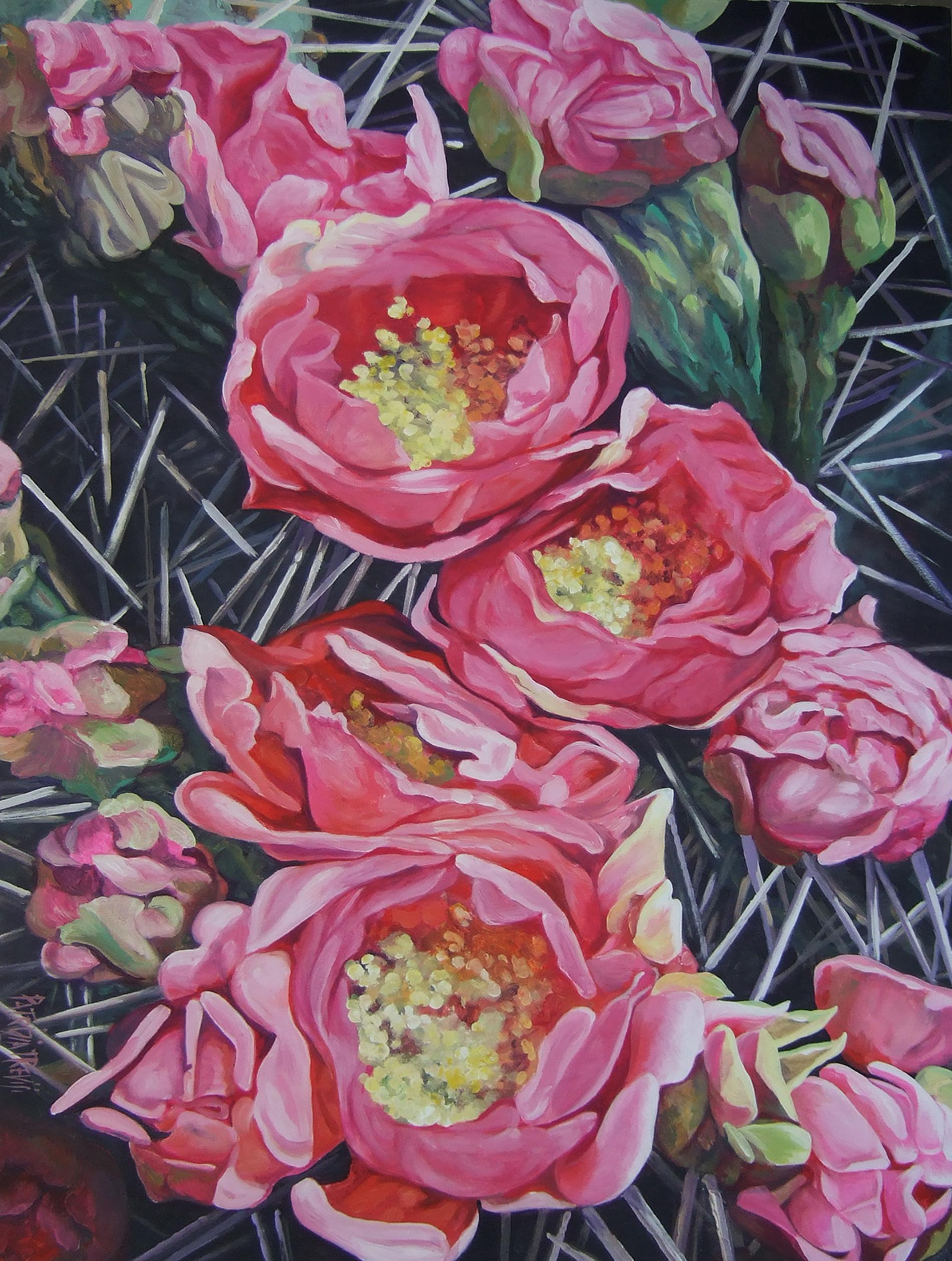 """""""Fiori di cactus"""" Collezione privata Tecnica mista. Colorazione ad acrilico su tela. Cm Cm 50x70"""