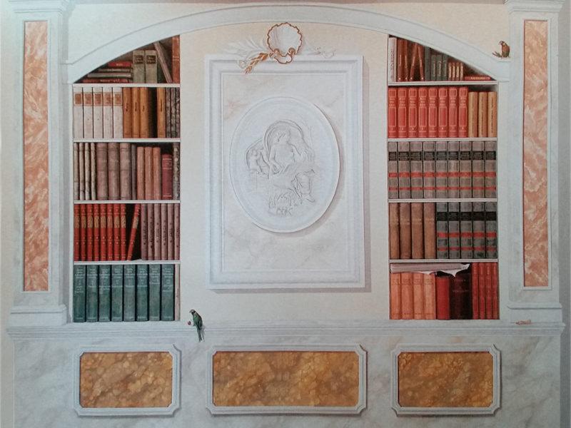 """Libreria Antica Residenza privata Roma Tecnica mista. Colorazione ad acrilico su tela. Trompe l'oeil """"Libreria Antica"""", tecnica mista, acrilico su tela, trompe l'oeil su parete, trompe l'oeil su tela incollata al muro, trompe l'oeil, trompe l'oeil di una libreria, finto marmo"""