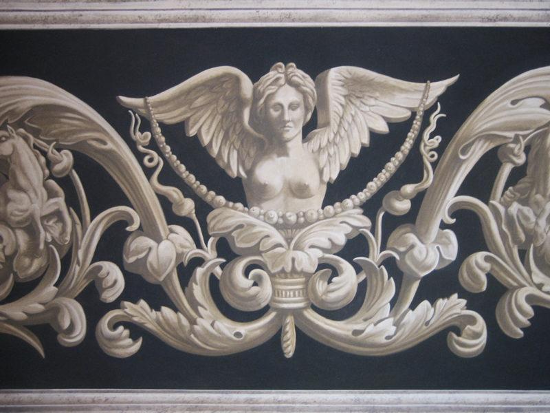Grottesche monocrome Imbotto portale residenza privata Genazzano Roma Acrilico su tela incollata al muro.