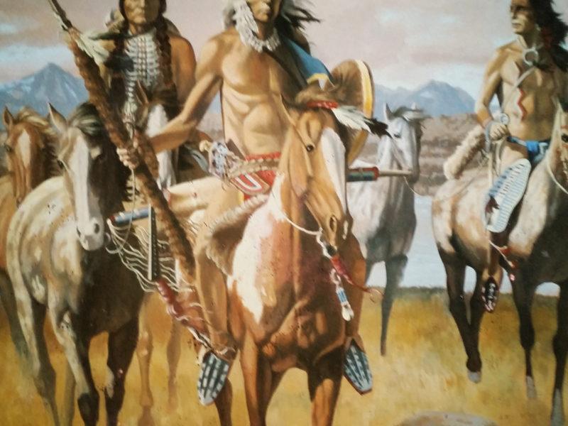 """Indiani d'America Pub-ristorante Albano Roma Tecnica mista. Colorazione ad acrilico su tela. Mq 50, ristorante decorato, pareti decorate , trompe l'oeil, trompe l'oeil """" indiani d'America"""", tela dipinta incollata su parete, trompe l'oeil con indiani americani e cavalli"""