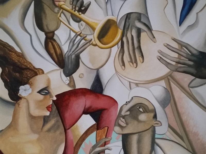 Jazz Ristorante Roma Tecnica mista. Colorazione ad acrilico su tela. Mq 30, ristorante decorato, pareti decorate , tela dipinta incollata su parete, acrilico su tela, tela incollata su parete, decorazione per ristoranti, dipinto jazz