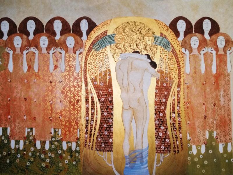 """Decorazione Klimt Pub Roma Tecnica mista. Colorazione ad acrilico su tela. Mq 20,decorazione per pub, decorazione per ristorante, decorazione per night club, acrilico su tela, tela dipinta incollata sul muro, decorazione """"Klimt"""""""