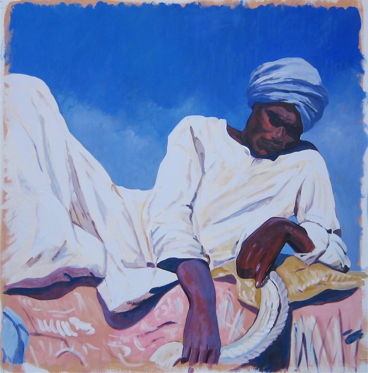 N.250 quadri ispirati a Majorelle Albergo Ifrane Marocco Tecnica mista. Colorazione ad acrilico su tela. Mq 200