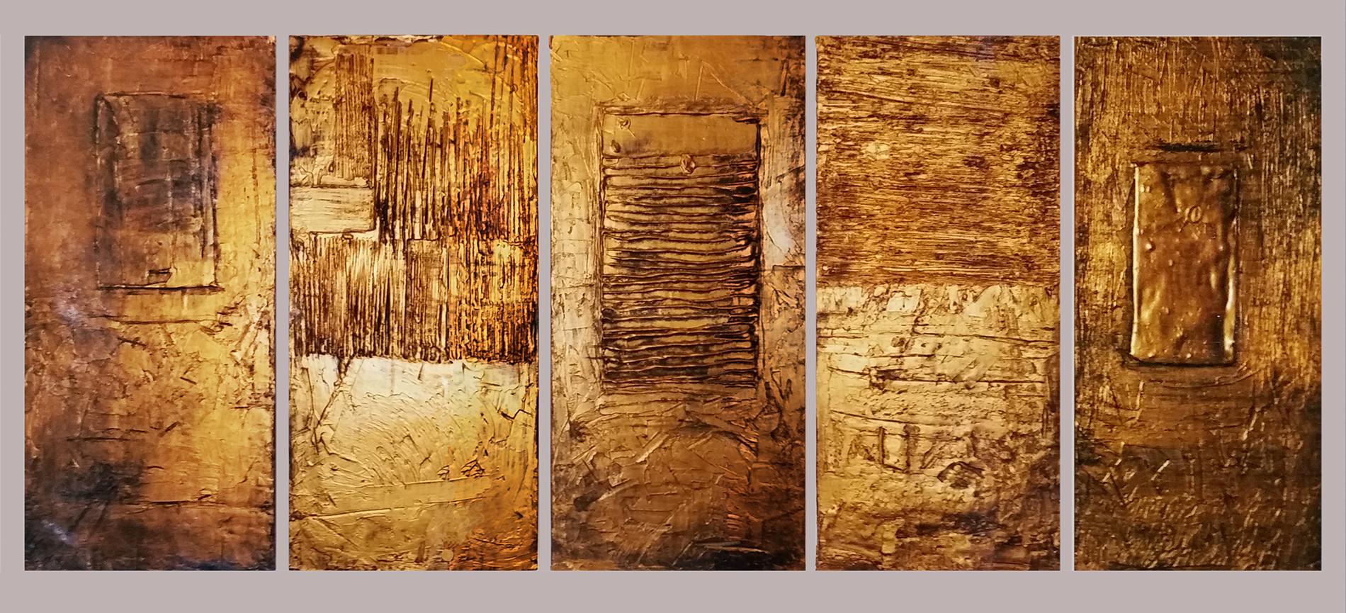 Bassorilievi oro Hotel 2002 Hotel Italia Gesso modellato su multistrato. Colorazione con oro. Bronzatura Mq 180