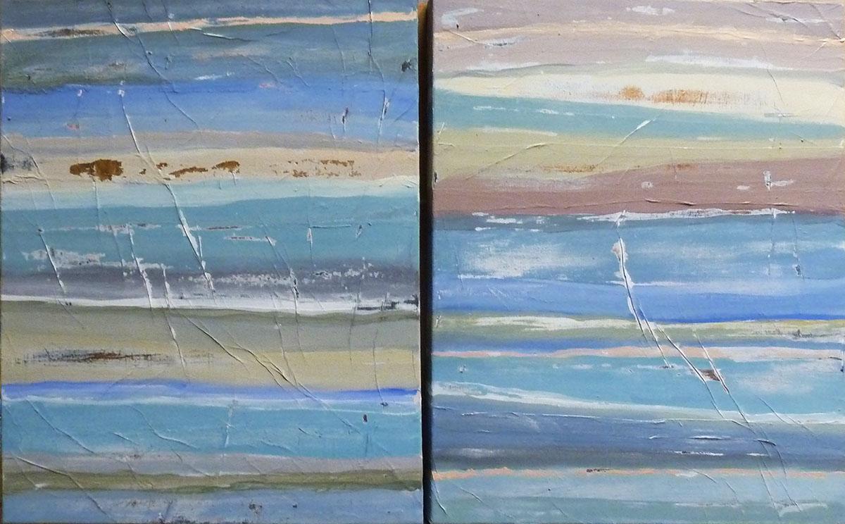 """""""marina"""" Collezione privata Tecnica mista. Pigmenti su carta di riso incollata su tela. Cm 40x60 cad"""