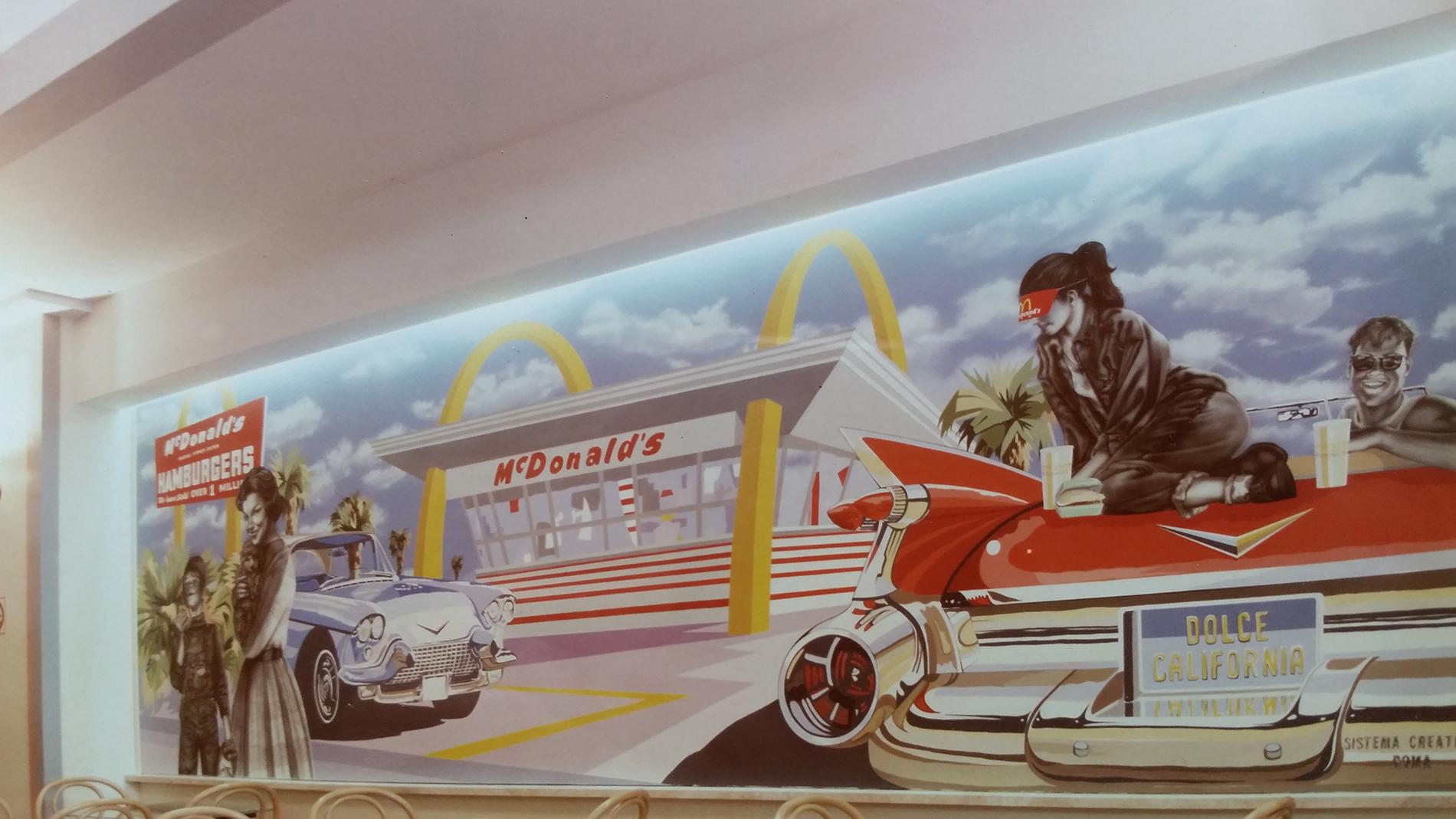 """""""Drive-in"""" Mc Donald's Roma Tecnica mista. Colorazione ad acrilico su tela. Mq 80"""