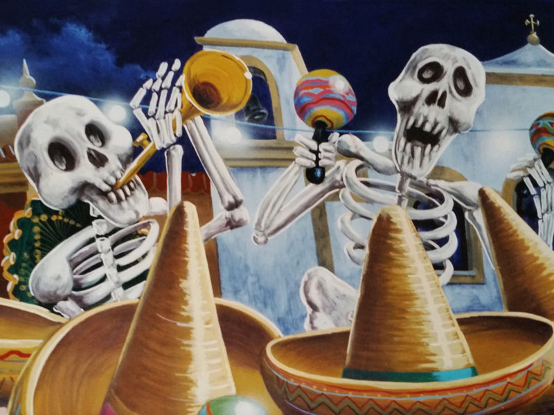 """""""Fiesta"""" decorazione per ristorante messicano, decorazione per pub, decorazione tecnica mista, acrilico su tela, acrilico su tela poi incollata su parete, decorazione per fast food, decorazione realizzata ad aereografo e dipinta a pennello, decorazione per ristoranti, decorazione per discoteche, decorazione con soggetto la festa messicana"""