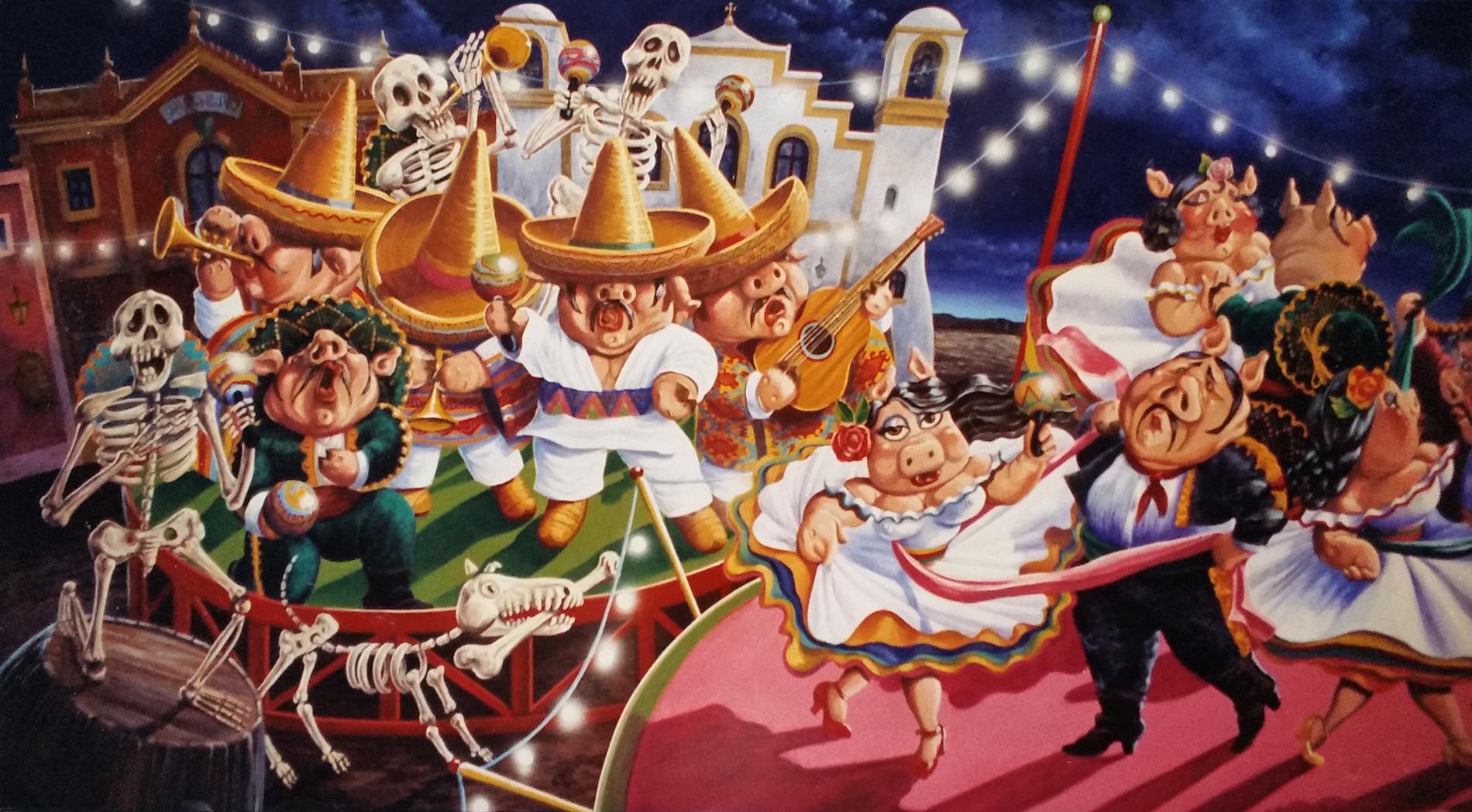 """""""Fiesta"""" Ristorante messicano Roma Tecnica mista. Colorazione ad acrilico su tela. Mq 40"""