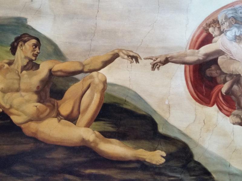 """Michelangelo - """"la creazione di Adamo"""" Collezione privata Roma Tecnica mista. Colorazione ad acrilico su tela. Cm 350x500"""