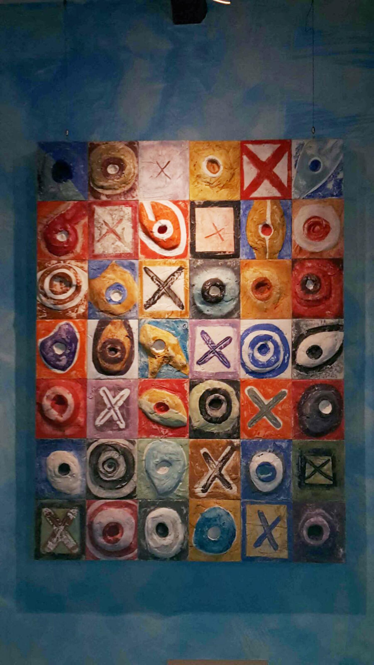 Moduli Dionisio Collezione privata Perugia 2014 Gesso modellato su multistrato. Colorazione con pigmenti Cm 100x150