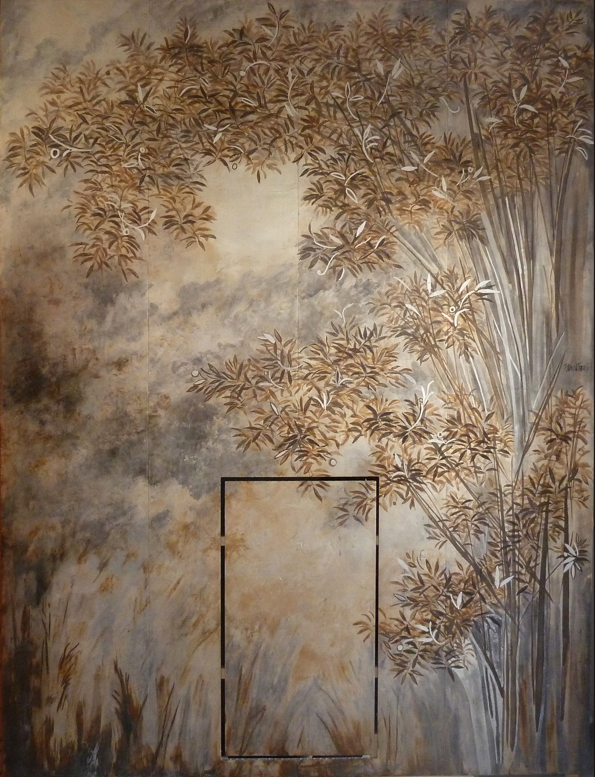 """Quadri argento """" Boschetto"""" 2015 Nave di lusso Norvegia Gesso modellato su pannelli di honeycomb . Foglia d'argento. Colorazione con acidi."""