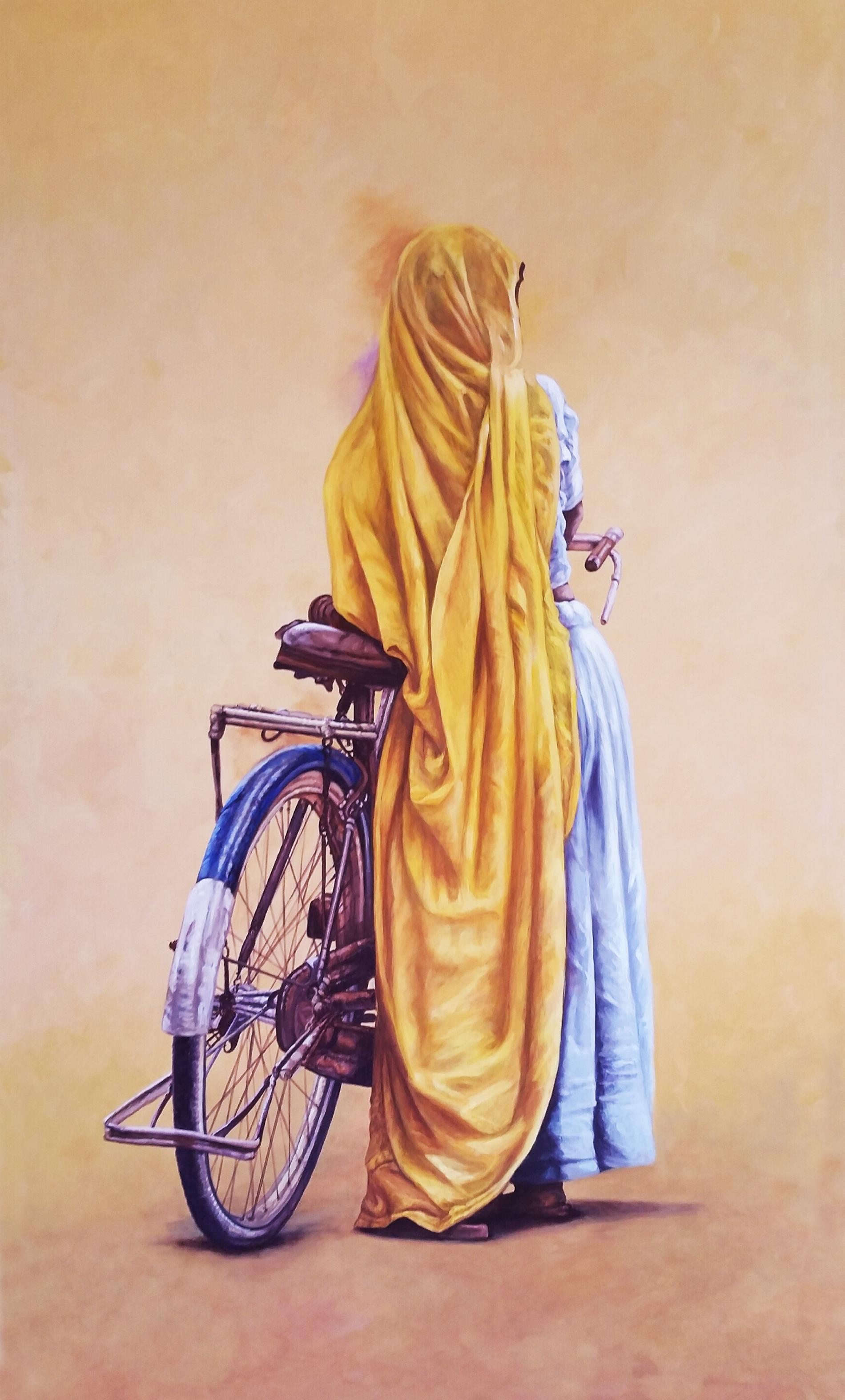 """Donna e bicicletta. """"ritratto di odalisca"""" Collezione privata Tecnica mista. Colorazione ad acrilico su tela. Cm 120x180"""