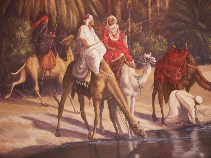 orientalisti, Residenza privata Marrakech Marocco, tecnica mista, acrilico su tela, veduta oasi, cammelli, cammellieri, palme dell'oasi, veduta orientalista, cavaliere a cavallo, cavaliere falconiere