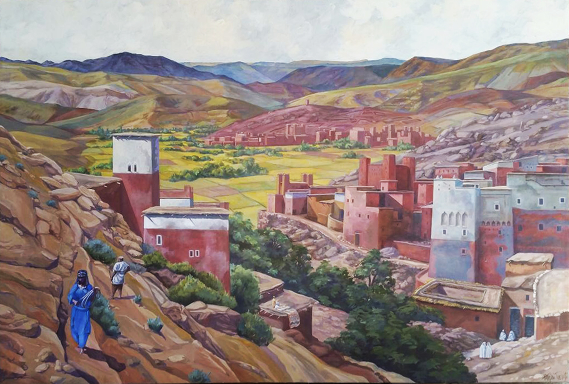 """""""Paesaggio berbero"""" Collezione privata Tecnica mista. Colorazione ad acrilico su tela. Cm 120x180"""