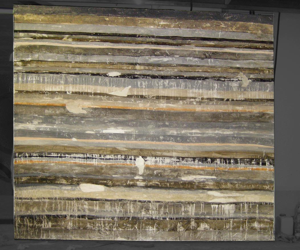 Sedimentazioni Stadio Olimpico N.2 quadri bifacciali Tecnica mista. Colorazione con pigmenti su carta di riso incollata su supporto in legno. Foglia d'argento. Mq 42