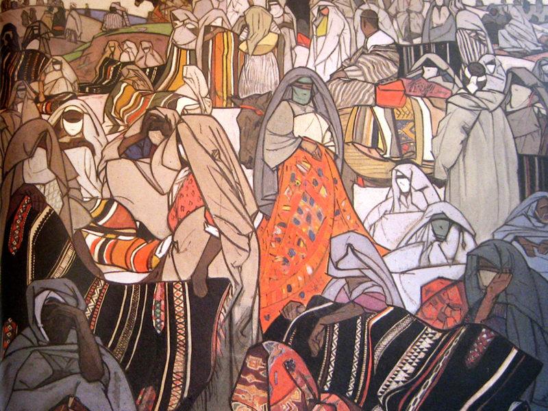 acrilico su tela, donne orientaliste, quadri orientalisti per albergo, quadri per albergo, donne orientaliste, liutista orientalista, Quadri Orientalisti di Patrizia Trevisi, quadri ispirati a Majorelle, orientalisti