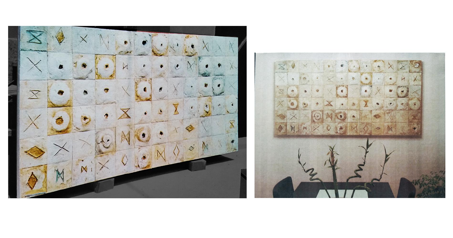 Moduli Rune,Aggregazione, archetipo, astrazione organica, bassorilievo, culto della Madre Terra, Grande Madre, mito, modellato in gesso, moduli, rune, divinazione graffito, Pigmenti