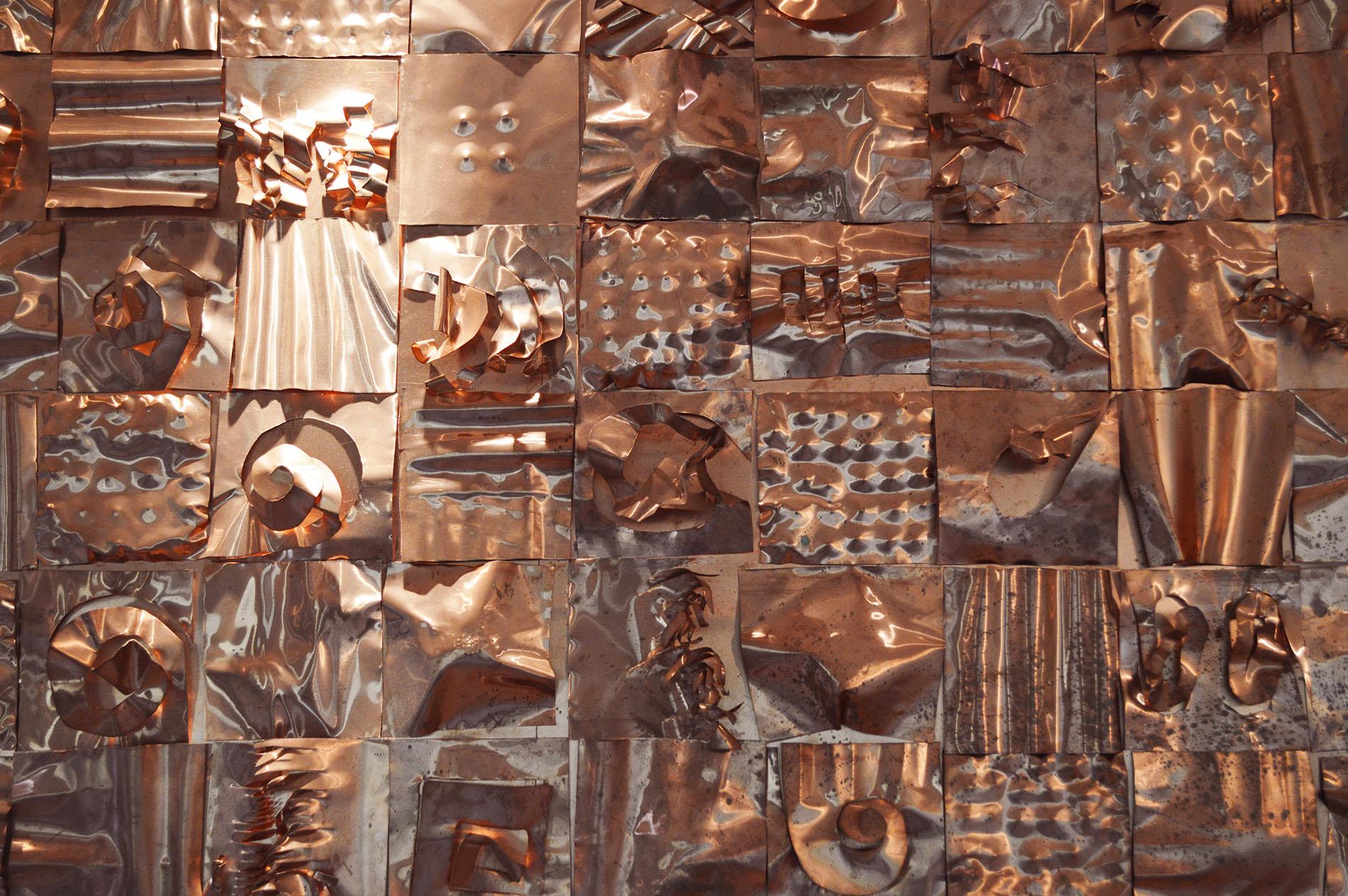 Quadro Rame 2015 Studio medico Roma Foglio di rame modellato su supporto multistrato Cm 200x140 Foglio di rame modellato su supporto, rame sbalzato, rame, scultura astratta, rame ritagliato scultura in rame, scultura in metallo