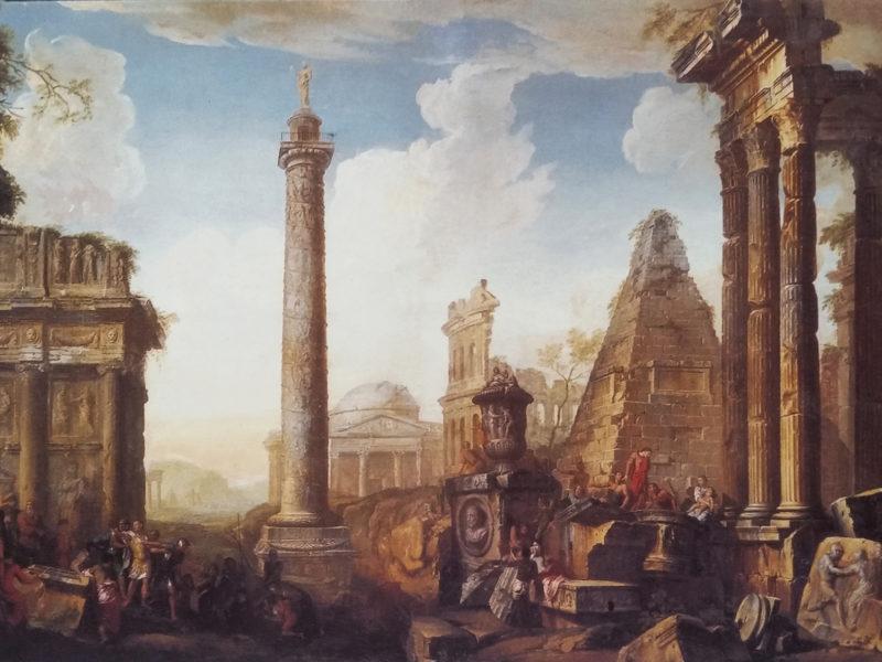 """""""Antiche rovine"""" di G.P.Panini, quadri per Hall, quadri per albergo, tecnica mista, dipinto ad acrilico su tela, Pannini, copie Pannini, copie dall'antico, rovine romantiche"""