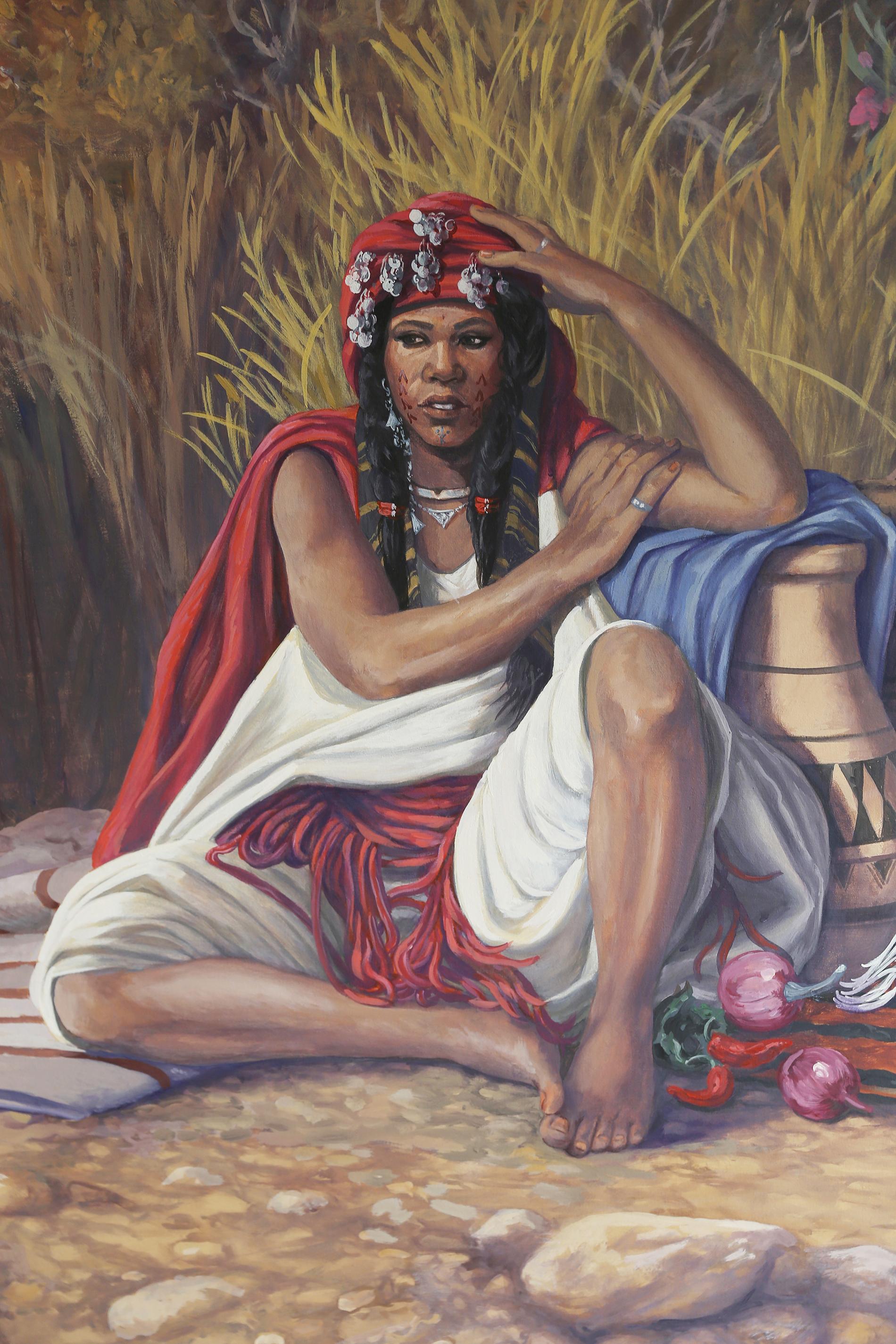 """Veduta """"mercato berbero"""",acrilico su tela,, orientalisti, Residenza privata Marrakech Marocco,Tecnica mista,acrilico su tela., tecnica mista, veduta mercato berbero, veduta orientalista, mercato berbero, donna berbera, cavalli berberi, tappeti berberi, venditori berberi, villaggio marocchino"""