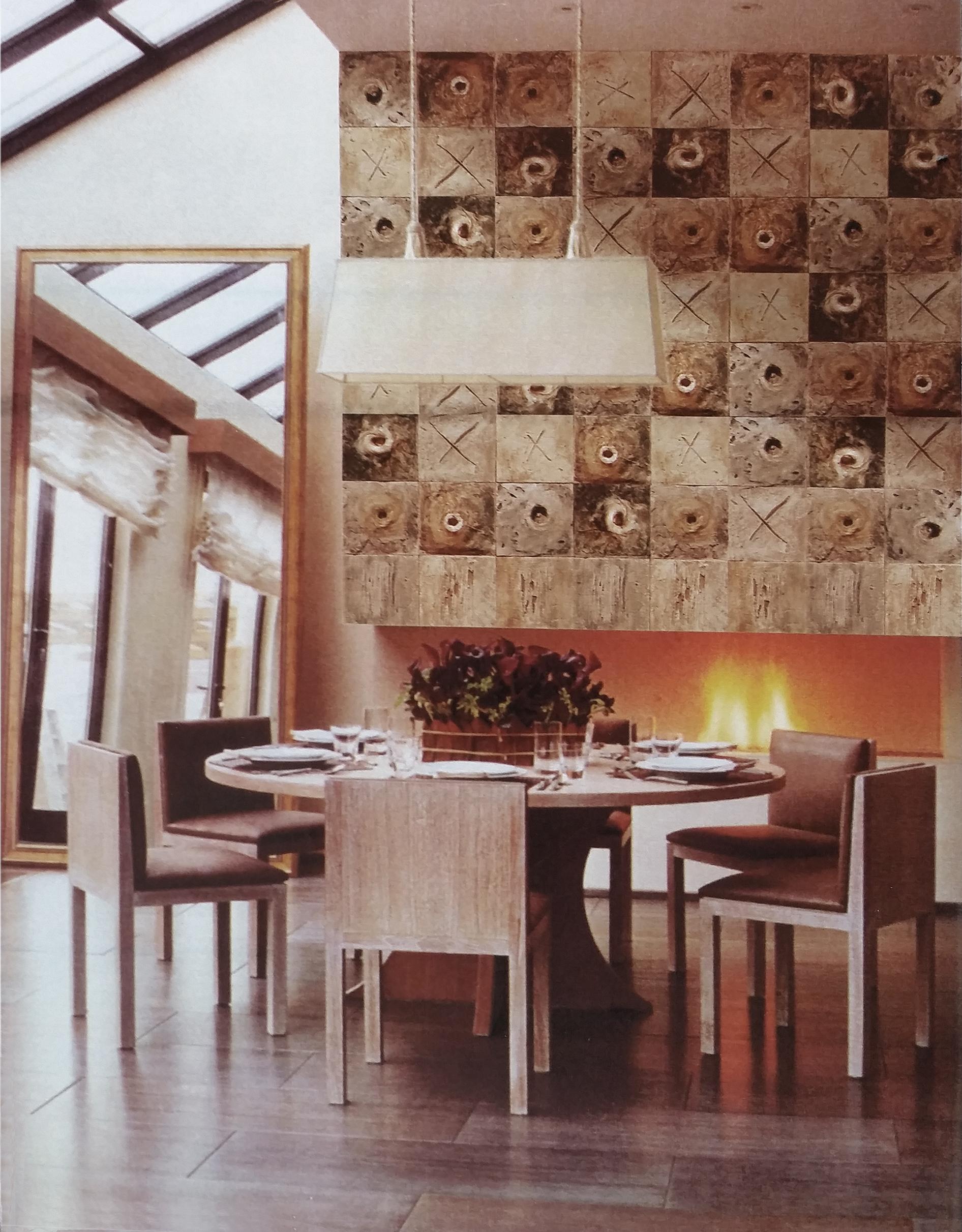 Moduli Pavone Caminetto residenza privata Germania 2007 Gesso modellato su multistrato. Colorazione con pigmenti mq 4