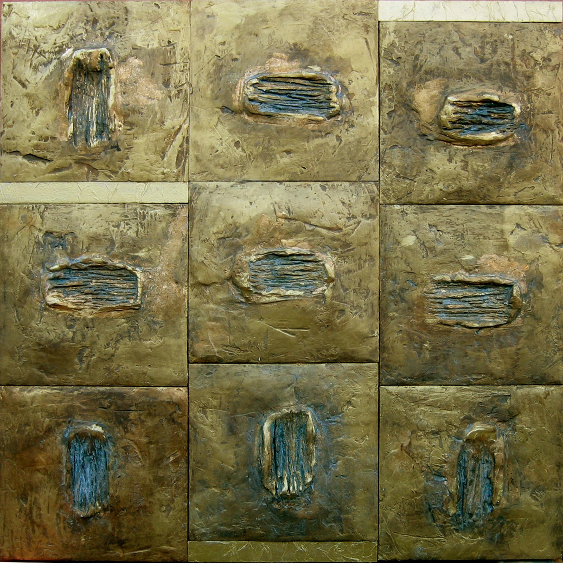 Piastre Esagramma 2007 Collezione privata Roma Gesso modellato su multistrato. Colorazione con oro bronzato Cm 120x120