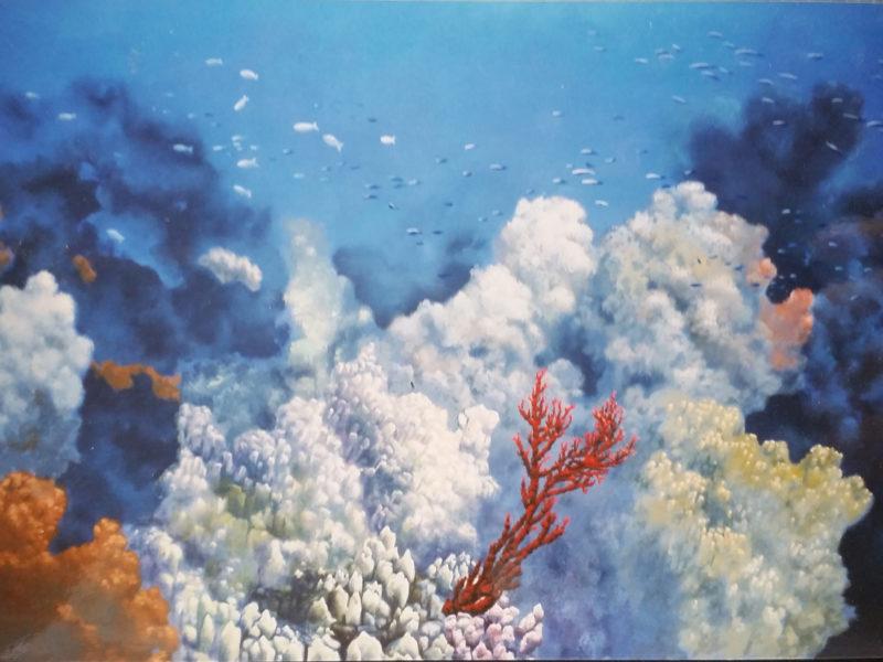 """trompe l'oeil """" acquario"""", trompe l'oeil per agenzia turistica, acrilico su tela, acrilico su tela, trompe l'oeil per alberghi, trompe l'oeil per ristoranti, trompe l'oeil con pesci, trompe l'oeil con pesci e coralli, trompe l'oeil con pesci tropicali e delfini, trompe l'oeil decorato con delfini e coralli, trompe l'oeil per showroom, trompe l'oeil su parete, trompe l'oeil su tela incollata al muro, trompe l'oeil per piscina, trompe l'oeil Piscina in residenza privata Monaco Germania Tecnica mista. Colorazione ad acrilico su tela. Mq 26"""