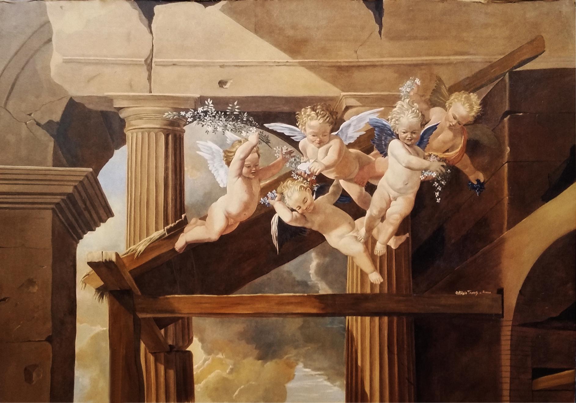 N. Poussin particolare putti. Gioielleria Roma. Cm 200x180