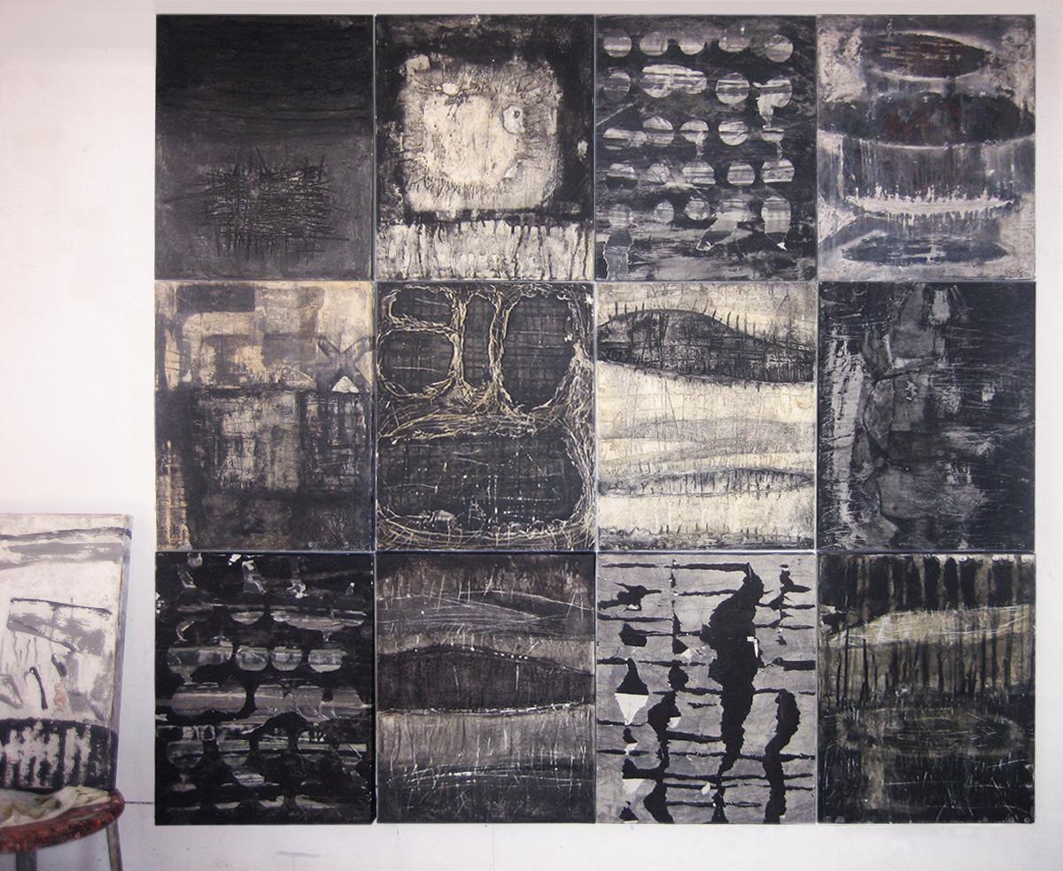 Aggregazione coatta Collezione privata. Tecnica mista. Colorazione con pigmenti su gesso, carta e tela. N.12 quadri cm 40x50 cad.
