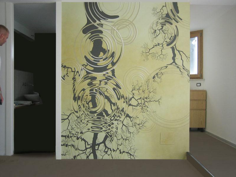 Riflessi Residenza privata Roma. Tecnica mista. Colorazione ad acrilico su tela. Cm 240x 280