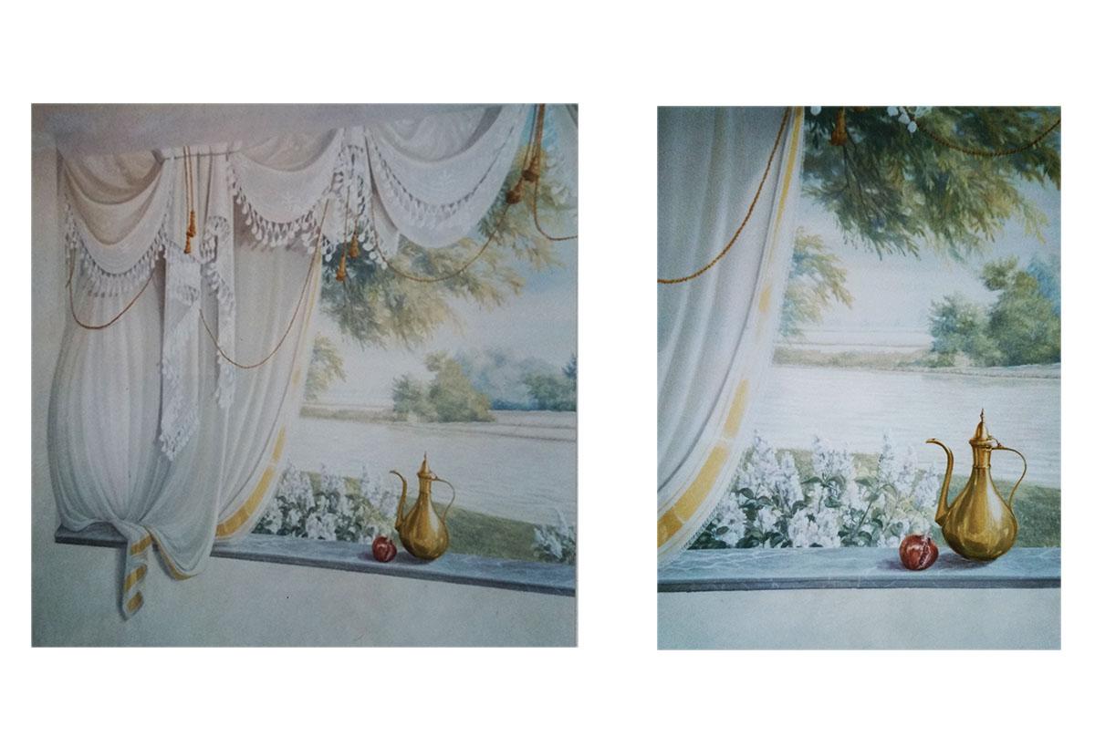 Residenza privata Robbio Pavia Tecnica mista. Colorazione ad acrilico su tela. Cm 1220x 200