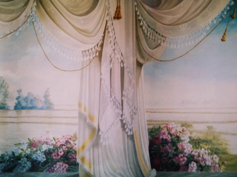 """Veduta """"Risaie"""" Residenza privata Robbio Pavia.Tecnica mista. Colorazione ad acrilico su tela. Cm 1220x 200"""