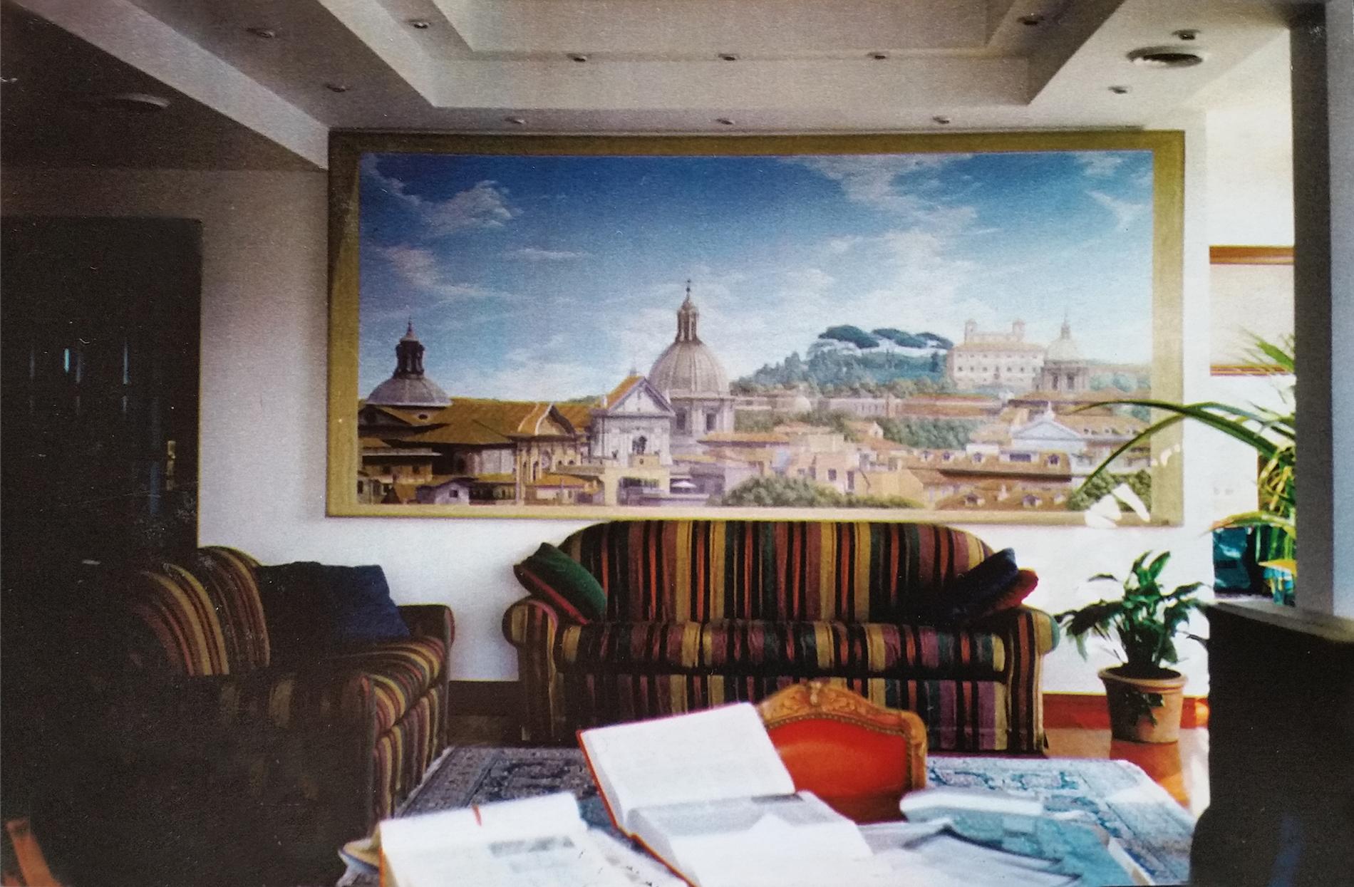 Veduta Roma Collezione privata Roma Tecnica mista. Colorazione