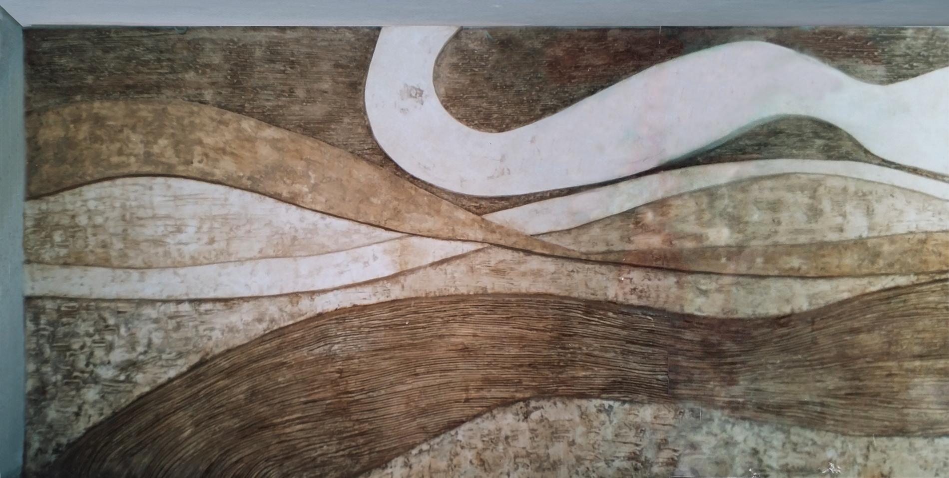 2006 Hall Hotel Santo Stefano Sardegna Gesso modellato su multistrato. Colorazione con pigmenti Mq 24, archetipo, astrazione organica, bassissimo rilievo, bassorilievo, hall, hotel, hotel sardegna, gesso modellato, graffiti, mito, organica, pigmenti, texture, flusso, onde