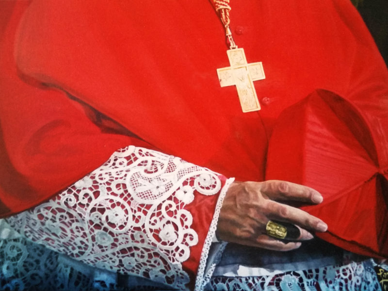 ritratto del Cardinal Sepe Sala dei cardinali Propaganda Fide Roma, olio su tela ritratto di cardinale
